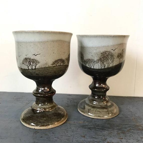 vintage pottery goblets - drip glaze - winter trees - boho barware - beige chocolate - wedding toasting glasses - Set of 2
