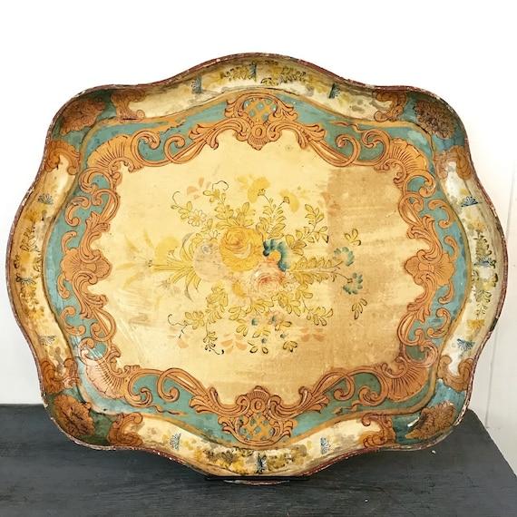 vintage serving tray - large Florentine paper mâché - decorative tray - boho shabby cottage - turquoise cream gold