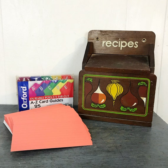 vintage wooden recipe box with blank index cards and dividers - kitsch kitchen decor