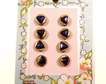 Vintage Diminutive Glass Buttons - Set of Eight
