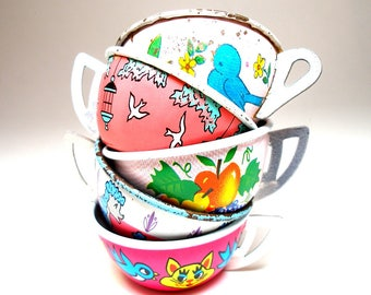 50s Tin Toy Tea cups, Birds in pink, blue & white, Instant Collection.