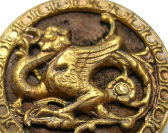 """XL Antique DRAGON BUTTON, 1800s Victorian monster, winged beast. 1.5""""."""