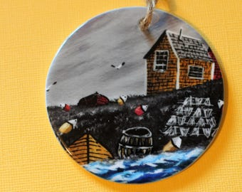 Acadian Painting  Nova Scotia made  ceramic Christmas ornament maritimes Atlantic Canada, traditional style painting, East Coast, acadie