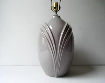 Gorgeous ceramic lamp - 1980s oversized - neutral gray