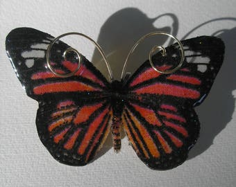 Signed Dalton Monarch Butterfly Pin Pendant Necklace