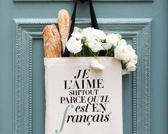 """French Tote Bag, """"L'aime"""" Funny Canvas Tote Bag, Fashion Girlfriend Gift for Her, Minimalist Typography, Modern Shopping Bag with Pockets"""