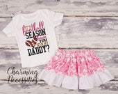 ON SALE Football Coaches Daughter Top Skirt Set, Football Sister Fan, Baby Girl, Toddler Clothes, Its Football Season Have You Seen My Daddy