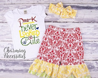 SALE Back To School Outfit, Toddler Girl Clothes, Glitter Top and Ruffle Pants in PreK Never Looked So Cute PRIMARY Prechool Trendy