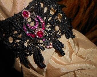 Black Lace Choker Necklace-