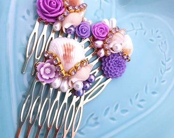 Mermaid Hair Combs-Set of 3-Purple Hair Comb-Mermaid Wedding-Beach Bridal-Bridesmaid Gift-Prom Hair Accessory-Pearl Hair Clip-Golden Comb