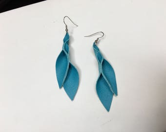 Turquoise green Leather Petal Earrings 3 inches