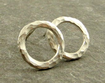 Silver Circle Earrings Open Circle Earrings Posts Circular Stud Earrings Fine Silver Jewelry