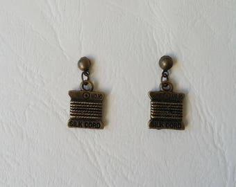 Earrings ♥ ♥ antique spools of thread