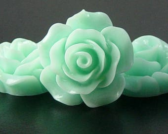 Cabochon Resin Flower 4 Resin Round Rose Flower Blue 20mm x 9mm (1019cab20m4-11)