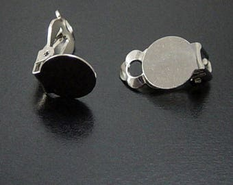 Earring Findings 16 Earring Clip-on Components Silver Non-Pierced (8 pairs) 18mm long (1043ear18s2)