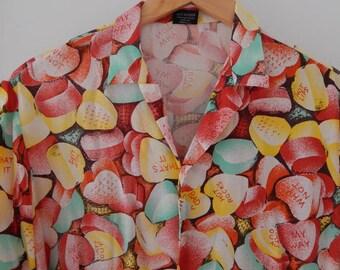 Vintage Mens rayon Valentines candy hearts novelty print shirt