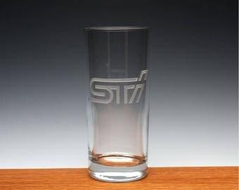 Engraved Subaru STI Drinking Glass