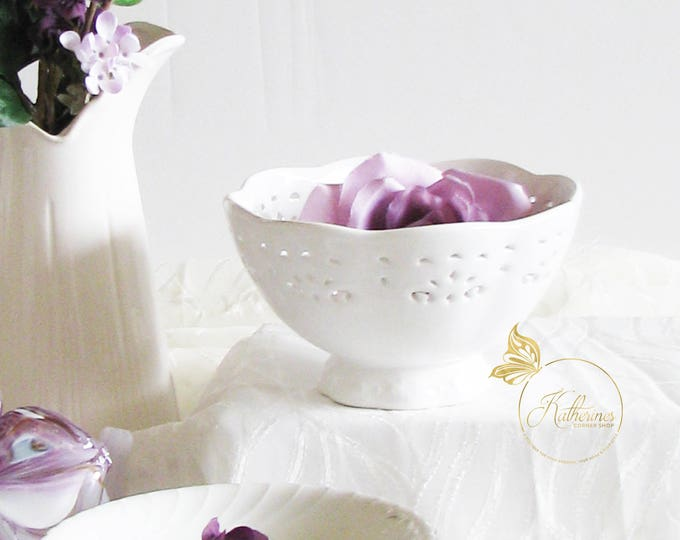 Featured listing image: White Ceramic Lace Footed Bowl