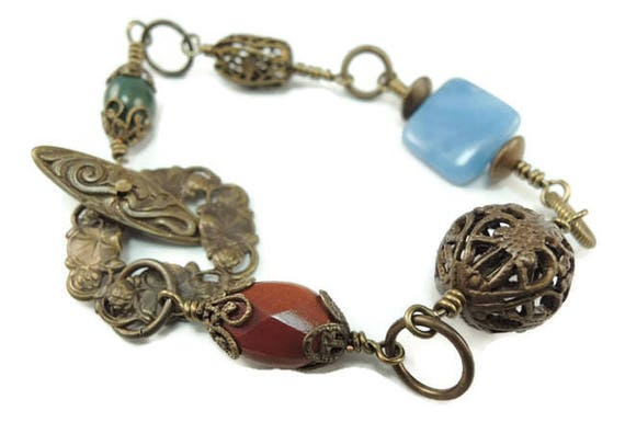 CLEARANCE Brass and gemstone Bracelet