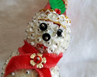 Vintage Snowman Christmas Tree Ornament, Handmade, Sequins and Beads