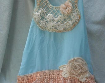 36 Percent Off Closet Cleaning Sale TUNIC Top Tank Romantic Ethereal Whimsical Fairylike Boho - Blue, Peach and Ivor