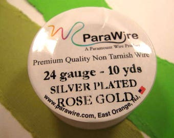 Silver Plated Rose Gold - 24 Gauge Wire from ParaWire - 10 yard Spool