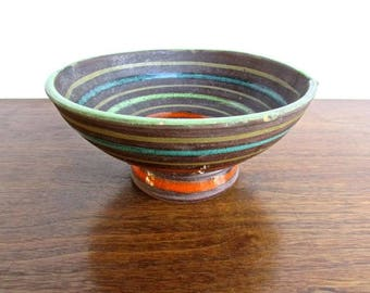 Raymor for Bitossi, Low Double-Spouted Bowl, Rich Brown ringed by Orange, Green & Blue