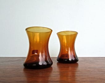 Vintage Italian Amber Glass Cordials, Mid-Century Italian Blown Glass Barware - Freehand Glass Blowing