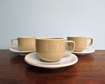 Sasaki Colorstone Beige and White Cups & Saucers, by Massimo and Lela Vignelli
