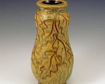 Carved Oak Leaf Pattern Golden Ash Glazed Vase/SHIPPING INCLUDED