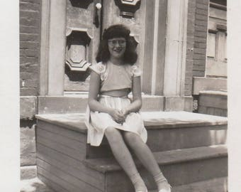 Original Vintage Photograph Snapshot Girl Poses Sitting on House Steps 1940s
