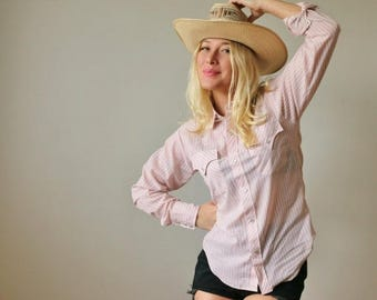 ON SALE Deadstock 1980s Miller Pink Western Shirt >>> Size Extra Small