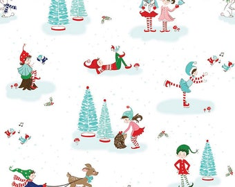 FABRIC CHRISTMAS PIXIE Noel Main Print on White by Riley Blake  1/2 Yard    We combine shipping