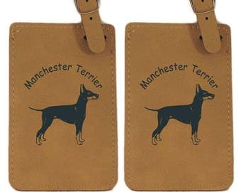 L3536 Manchester Terrier Standing Personalized Luggage Tag