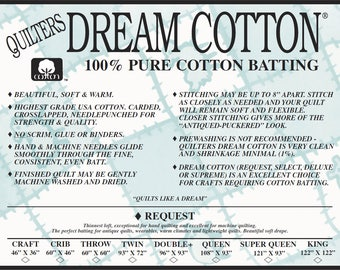 Quilters Dream Cotton Low Loft Light Weight Mixed Sampler Pack Natural & White Color Quilt Stuffing Machine Quilting
