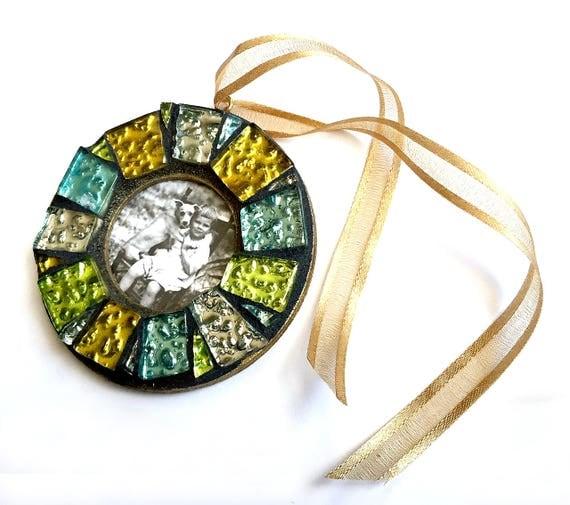 Shiny Mosaic Frame Ornament, Gold Gem Mosaic Frame Ornament, Mosaic Frame Ornament, Mosaic Photo Frame Ornament, Mosaic Frame, Hanging Frame