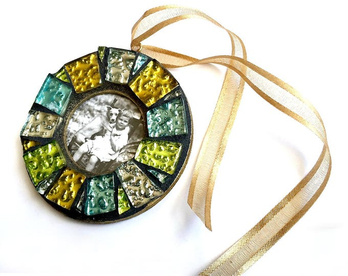 Shiny Mosaic Frame Ornament, Gold Gem Mosaic Frame Ornament, Mosaic Frame Ornament, Mosaic Photo Frame Ornament, Mosaic Frame, Hanging Frame