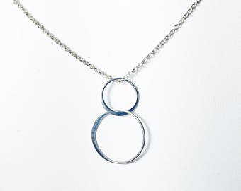 Sterling Silver Circles Necklace, Floating Double Circle Charm Pendant