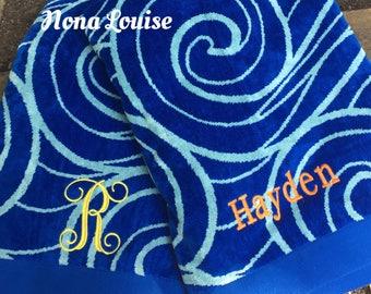 Blue Swirl Oversize Beach Towel-Monogram Towel-Pool-Bath
