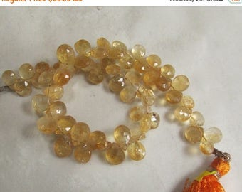 20% Off OUT Of TOWN SALE Natural Citrine Briolette Beads 6mm 8mm , Natural Gold Yellow Gemstone