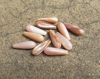 SALE Out Of TOWN Pink Mother Of Pearl  Briolette Pair Beads,  Top  1/2 Half drill Drilled beads , 7mm x 21mm,  1 pair