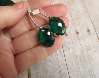 SALE Out Of TOWN AAA Rose Cut Emerald Green Quartz  Briolette Bead, 15mm x 20mm Matched Pair Briolettes, Carved Scallop Edge Rose faceted Ge