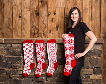 Christmas Stocking, Christmas Stocking Patterns, Christmas Stocking Design, Christmas Knitting, Red and white stocking, Scandinavian