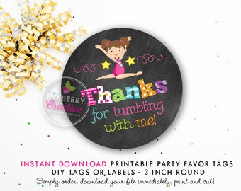 Girls Gymnastics Tumble Birthday Party Favor Tags (Brown Hair) - Chalkboard Style - Printable 3 inch Round - Instant Download PDF File