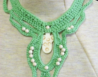Crocheted necklace -green with various cream beads -  trach stoma cover