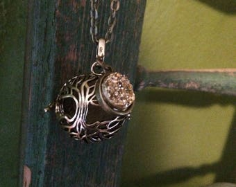 Tree golden Druzy Druzie Filigree Diffuser Boho Necklace use with Young Living Essential Oils