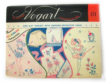 1950s Vintage Vogart Hot Iron Transfer Pattern 171 /  Risqué Can-Can Girls Pin Up Girls Embroidery Transfers / UNUSED - NOT A COPY