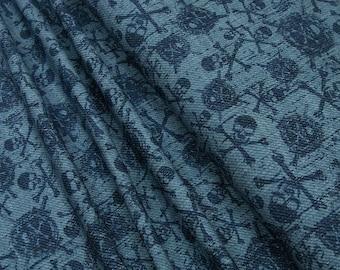 Jersey Little Darling dark blue skulls on light blue 0.54yd (0,5m) 003333