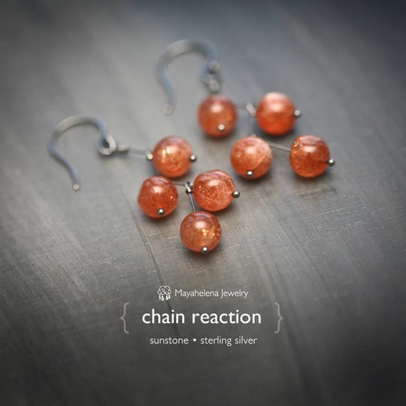 Chain Reaction - Cascading Sunstone Balls Sterling Earrings