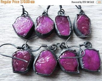 Rough ruby earrings   Raw ruby earrings   Ruby dangle earrings   Pink stone earrings   Ruby in silver   Gypsy earrings